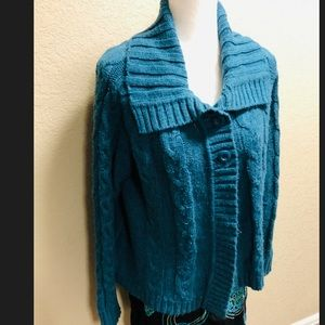 Sonoma Lifestyle teal knit cardigan sweater XL